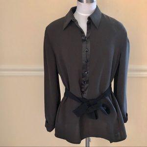 Giorgio Armani dark gray black belted blouse S-M